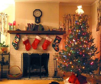 Lareira e Árvore de Natal