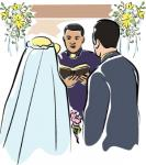 O Padre e os Noivos - Postal de Casamento