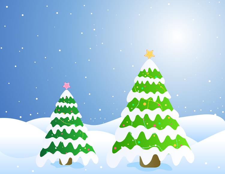 Pinheiros com neve